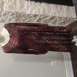 NWT Nina Leonard floral paisley pattern dress